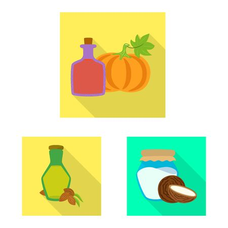 Vector illustration of bottle and glass sign. Set of bottle and agriculture stock symbol for web.