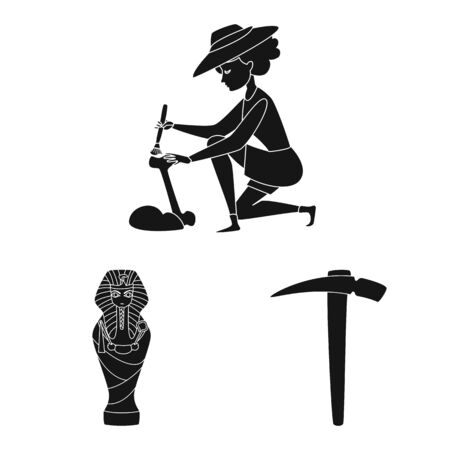Vector illustration of museum and attributes sign. Set of museum and historical vector icon for stock. Ilustração