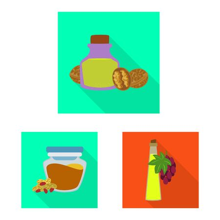 Vector design of bottle and glass sign. Set of bottle and agriculture stock symbol for web. Çizim
