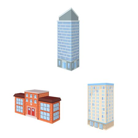 Vector design of city and build . Set of city and apartment vector icon for stock.