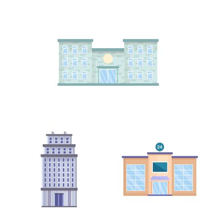 Vector illustration of facade and building sign. Collection of facade and exterior stock vector illustration. Ilustração