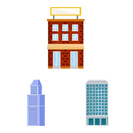 Vector design of facade and building icon. Collection of facade and exterior stock vector illustration.