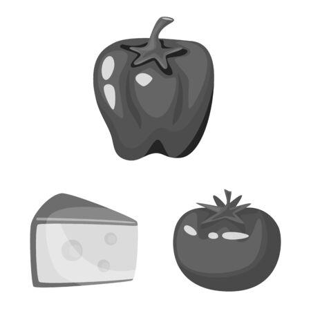 Vector illustration of spices and aroma symbol. Collection of spices and product stock vector illustration. Иллюстрация