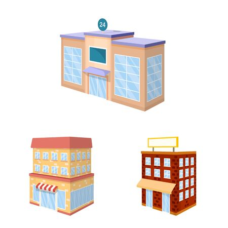 Vector illustration of city and build icon. Collection of city and apartment stock vector illustration.