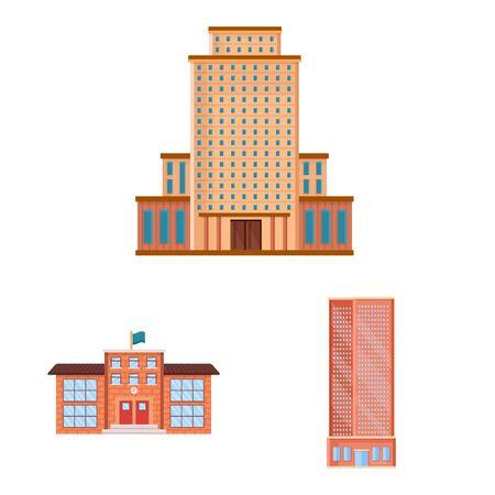 Vector design of facade and building sign. Collection of facade and exterior vector icon for stock.