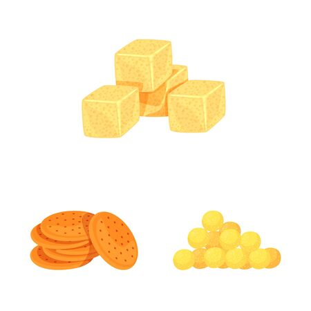 Isolated object of food and crunchy icon. Collection of food and flavor stock symbol for web.  イラスト・ベクター素材
