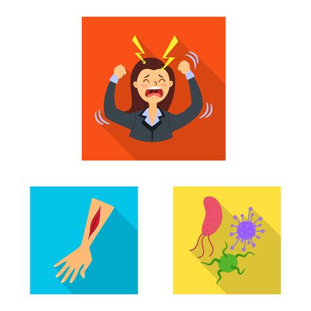 Vector design of dermatology and disease icon. Set of dermatology and medical stock symbol for web. Иллюстрация