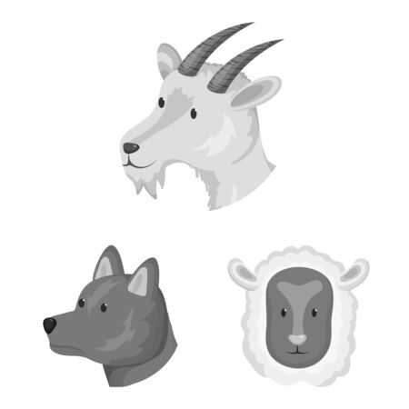Isolated object of countryside and homestead icon. Collection of countryside and breeding stock symbol for web.