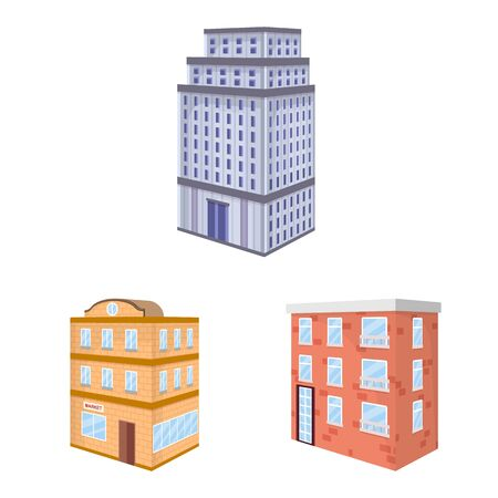 Vector illustration of city and build . Collection of city and apartment vector icon for stock. Ilustração