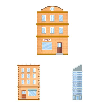 Isolated object of facade and building icon. Set of facade and exterior stock symbol for web.