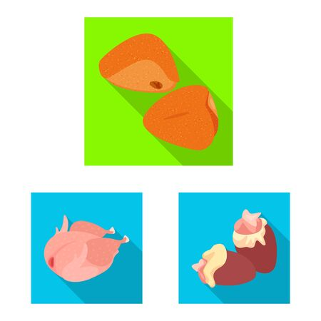 Vector design of product and poultry icon. Set of product and agriculture vector icon for stock.