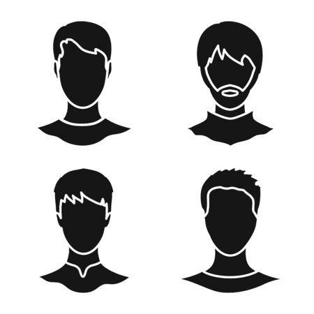 Vector illustration of character and profile icon. Collection of character and dummy stock symbol for web.