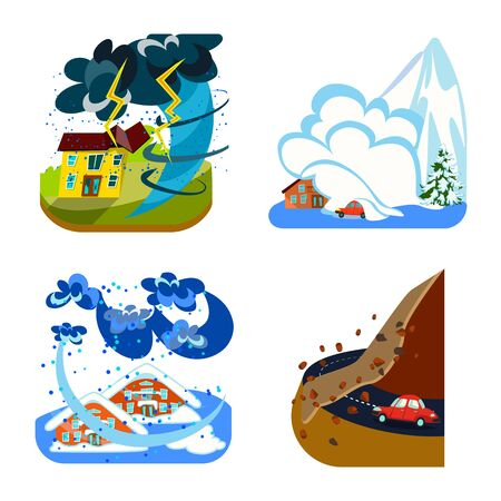 Vector illustration of cataclysm and disaster . Set of cataclysm and apocalypse stock vector illustration. Çizim