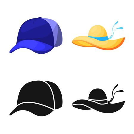 Isolated object of clothing and cap symbol. Set of clothing and beret stock symbol for web. Banque d'images - 129849750