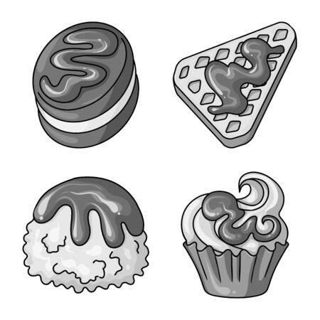 Vector design of sweet and caramel . Set of sweet and culinary vector icon for stock. Imagens - 129849775