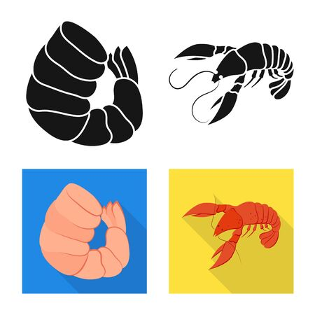 Isolated object of appetizer and ocean icon. Set of appetizer and delicacy stock vector illustration. Ilustracja