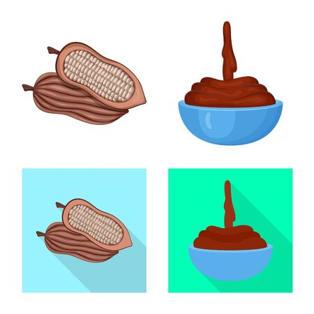 Vector illustration of food and yummy . Set of food and brown stock symbol for web. 向量圖像