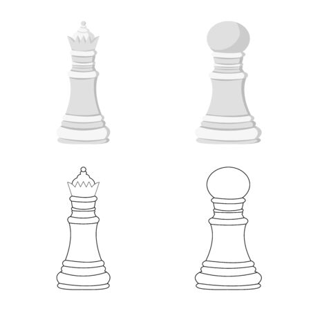 Isolated object of checkmate and thin sign. Set of checkmate and target stock symbol for web.