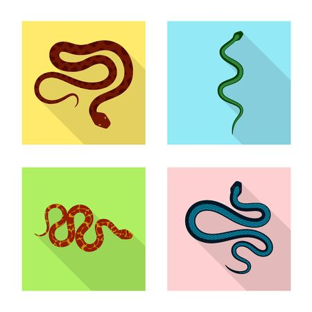 Vector illustration of skin and reptile sign. Set of skin and danger stock vector illustration.