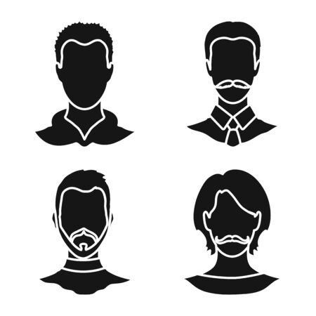 Isolated object of character and profile icon. Collection of character and dummy stock vector illustration.