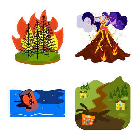 Vector illustration of cataclysm and disaster icon. Set of cataclysm and apocalypse stock vector illustration. Ilustração