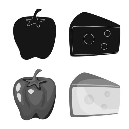 Isolated object of taste and product icon. Set of taste and cooking vector icon for stock.