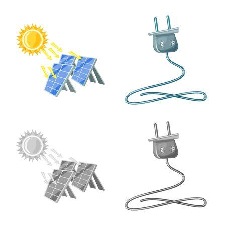 Vector design of innovation and technology sign. Set of innovation and nature stock vector illustration. Иллюстрация
