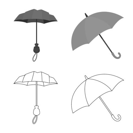 Isolated object of protection and closed sign. Set of protection and rainy vector icon for stock.