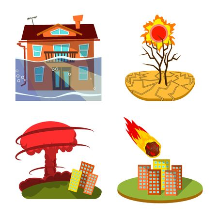 Vector illustration of cataclysm and disaster sign. Collection of cataclysm and apocalypse vector icon for stock.