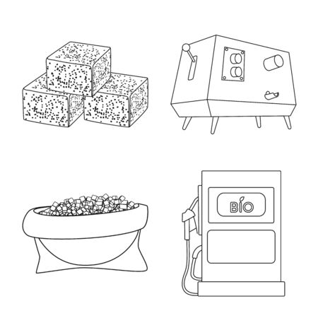 Isolated object of sugar and field icon. Collection of sugar and plantation vector icon for stock. Imagens - 129893431