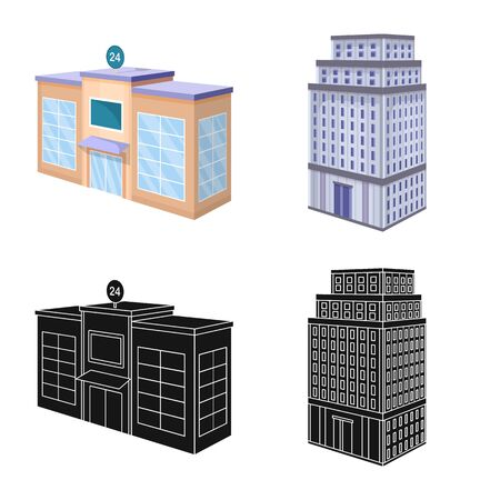 Vector illustration of construction and building icon. Set of construction and estate stock vector illustration. Иллюстрация