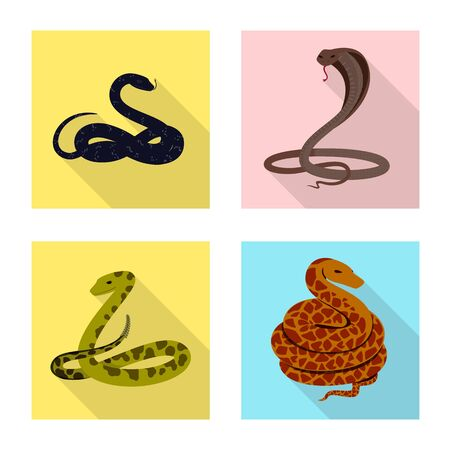 Vector illustration of skin and reptile sign. Set of skin and danger stock symbol for web.