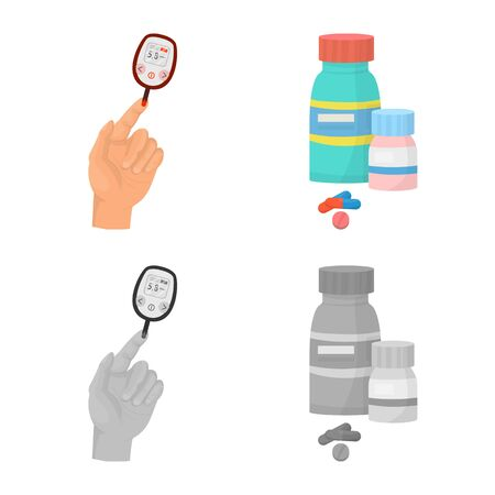 Vector illustration of diet and treatment sign. Collection of diet and medicine vector icon for stock.