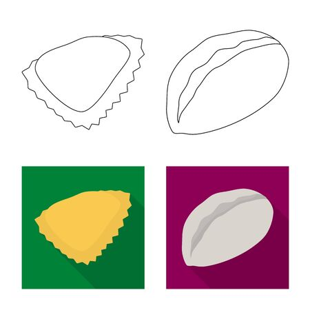 Vector illustration of products and cooking sign. Collection of products and appetizer stock symbol for web.  イラスト・ベクター素材