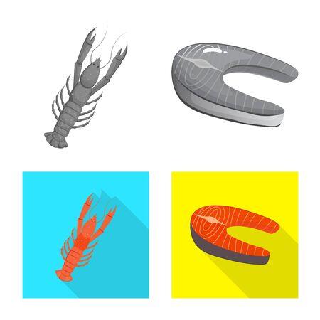 Vector design of fresh and restaurant symbol. Set of fresh and marine stock vector illustration. Standard-Bild - 129856814
