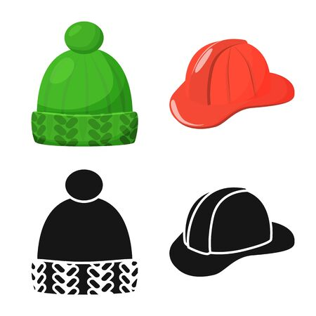 Vector illustration of clothing and cap symbol. Set of clothing and beret stock symbol for web.