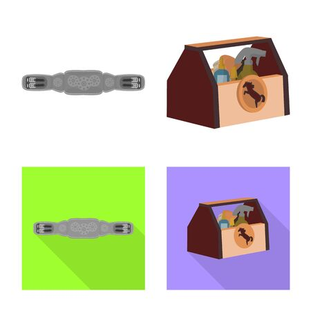 Isolated object of equipment and riding. Set of equipment and competition vector icon for stock.