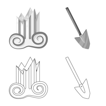 Vector illustration of story and items. Collection of story and attributes vector icon for stock.
