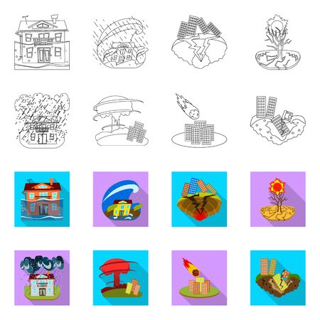 Vector illustration of weather and distress. Collection of weather and crash stock symbol for web.  イラスト・ベクター素材