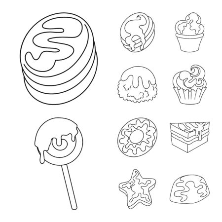 Vector design of sweet and product logo. Set of sweet and caramel vector icon for stock.