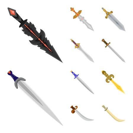 Vector design of sword and dagger icon. Set of sword and weapon stock vector illustration. Illusztráció