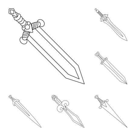 Vector illustration of game and armor icon. Set of game and blade stock symbol for web.