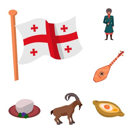 Isolated object of Caucasus and traditions sign. Collection of Caucasus and attributes stock symbol for web. Illustration