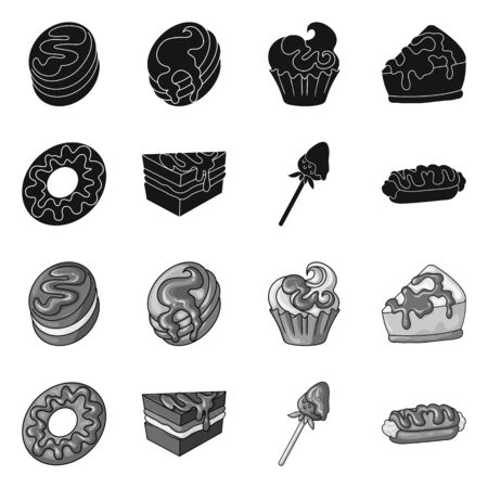 Vector design of confectionery and culinary logo. Collection of confectionery and product stock vector illustration.