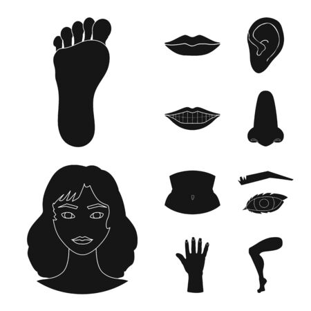 Isolated object of body and part icon. Collection of body and anatomy vector icon for stock. Archivio Fotografico - 129893593