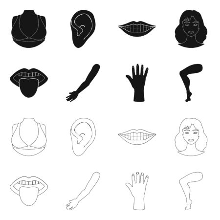 Vector design of body and part icon. Collection of body and anatomy stock symbol for web. Фото со стока - 129893601