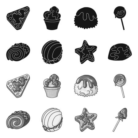 Vector illustration of confectionery and culinary sign. Collection of confectionery and product vector icon for stock. Imagens - 129893621
