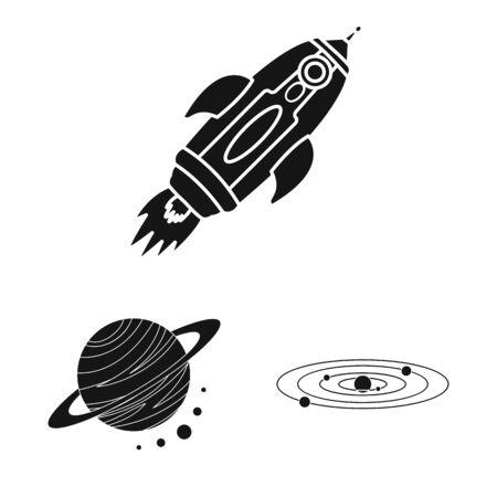 Vector illustration of colonization and sky sign. Set of colonization and galaxy stock symbol for web. Ilustração