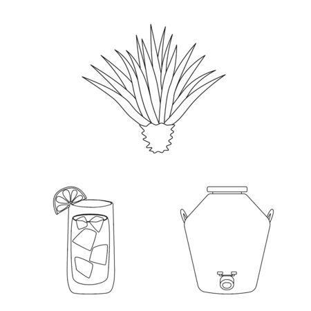 Vector design of Mexico and tequila sign. Set of Mexico and fiesta stock symbol for web. Ilustração