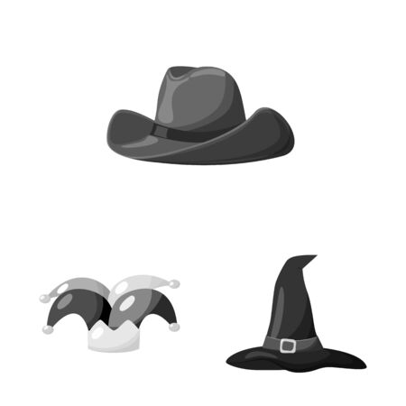 Isolated object of hat and helmet icon. Collection of hat and profession stock symbol for web. Иллюстрация